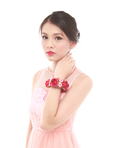 Leah  Bridesmaid Corsage in Dark Red