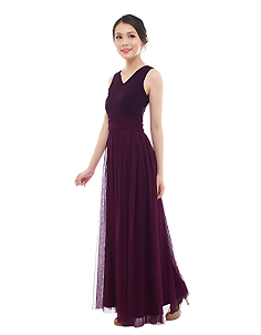 Vera Maxi Tulle Dress in Imperial Purple