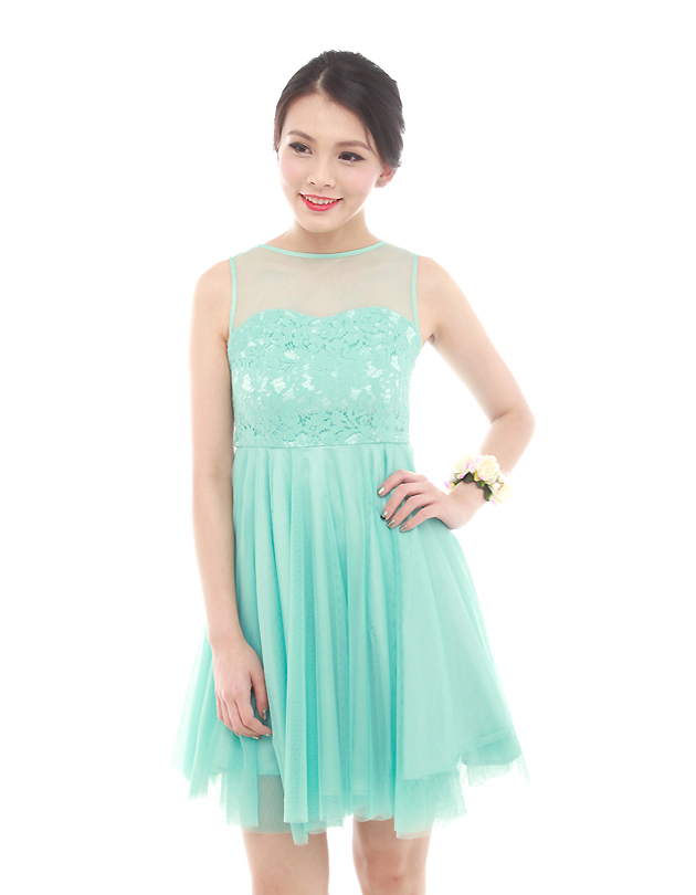 Penelope Tulle Dress in Tiffany