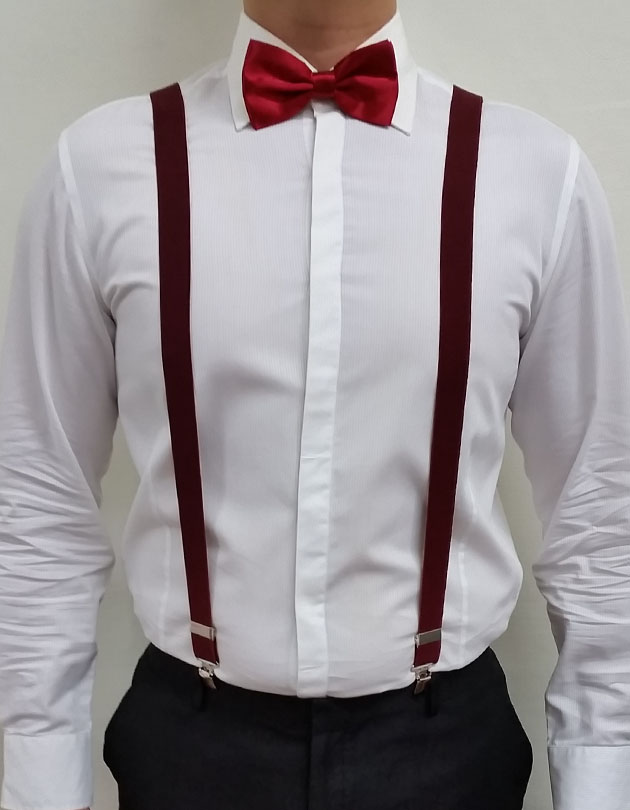 Suspenders in Maroon
