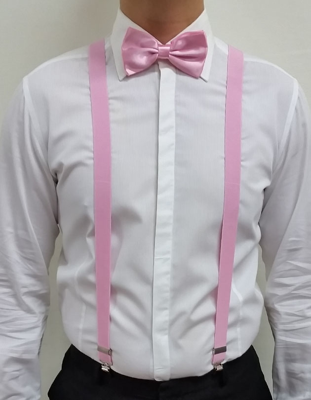 Suspenders in Pastel Pink