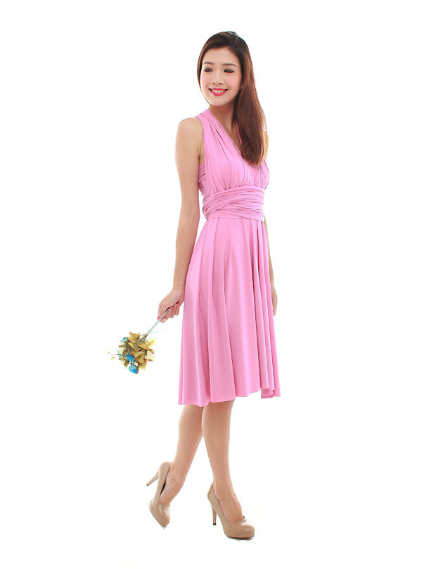 Cherie Convertible Classic Dress in Light Fuchsia