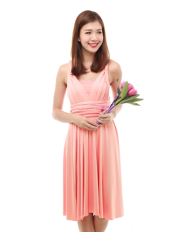 Cherie Convertible Classic Dress in Peach Pink