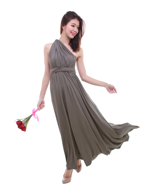 Cherie Convertible Maxi Dress in Dark Grey