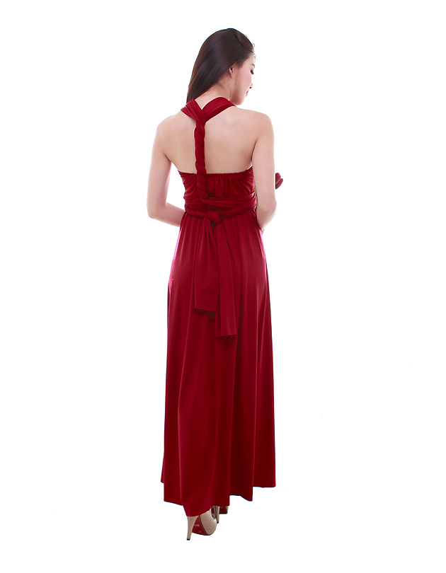 Cherie Convertible Maxi Dress in Maroon
