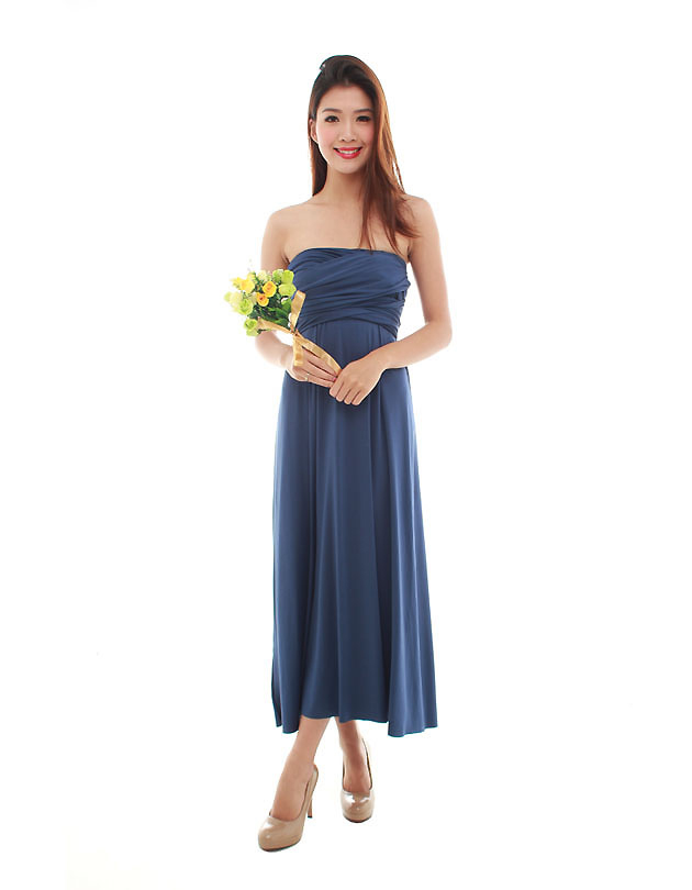 Cherie Convertible Maxi Dress in Navy Blue