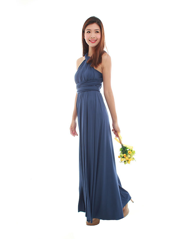 Cherie convertible maxi dress in navy blue the bmd shop for Navy blue maxi dress for wedding
