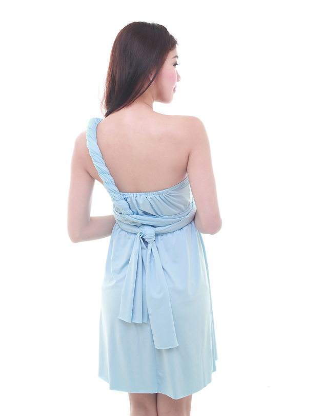 Cherie Convertible Mini Dress in Pastel Blue