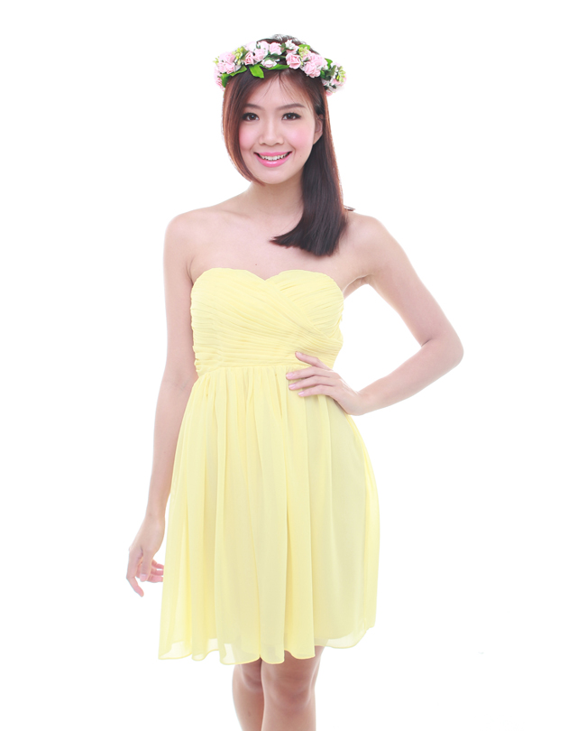 Cleo Dress In Pastel Yellow