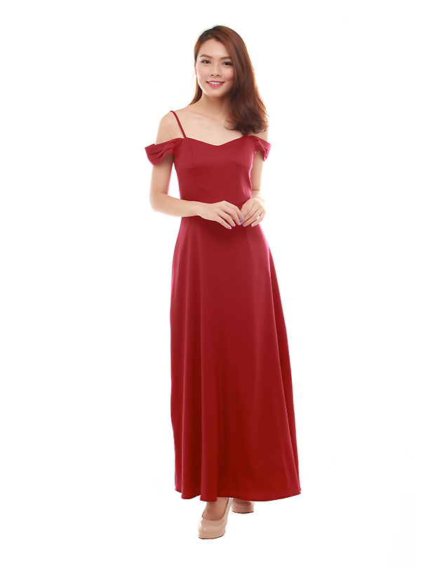 Ophelia Maxi Dress In Dark Red