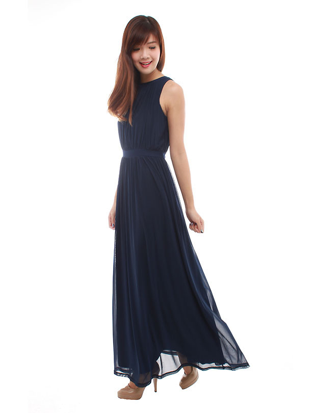 Paris maxi dress in navy blue the bmd shop your for Navy blue maxi dress for wedding