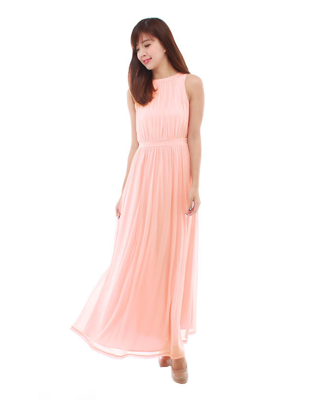 Paris Maxi Dress In Pastel Peach