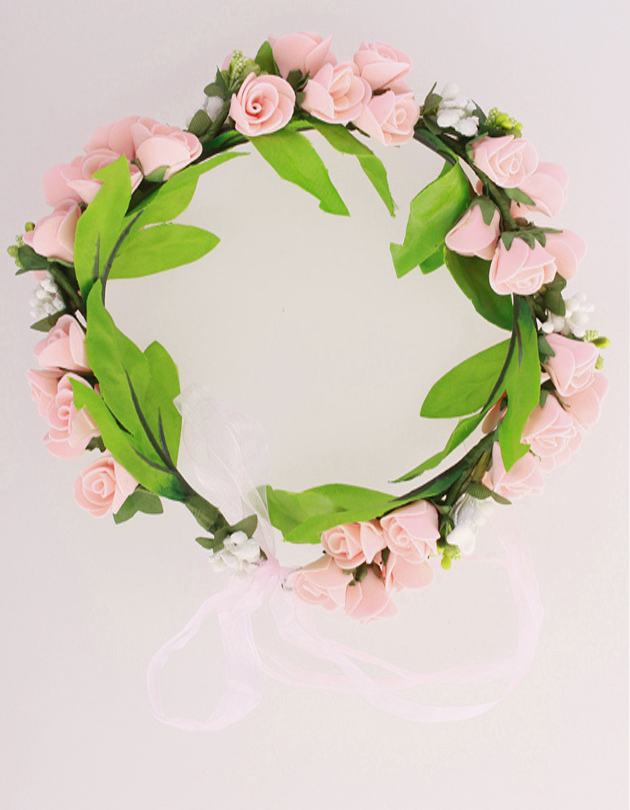Rochelle Floral Crown in Peach Pink
