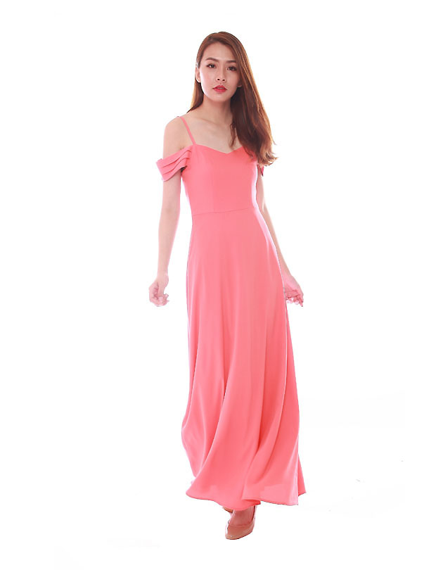 Ophelia Maxi Dress in Coral